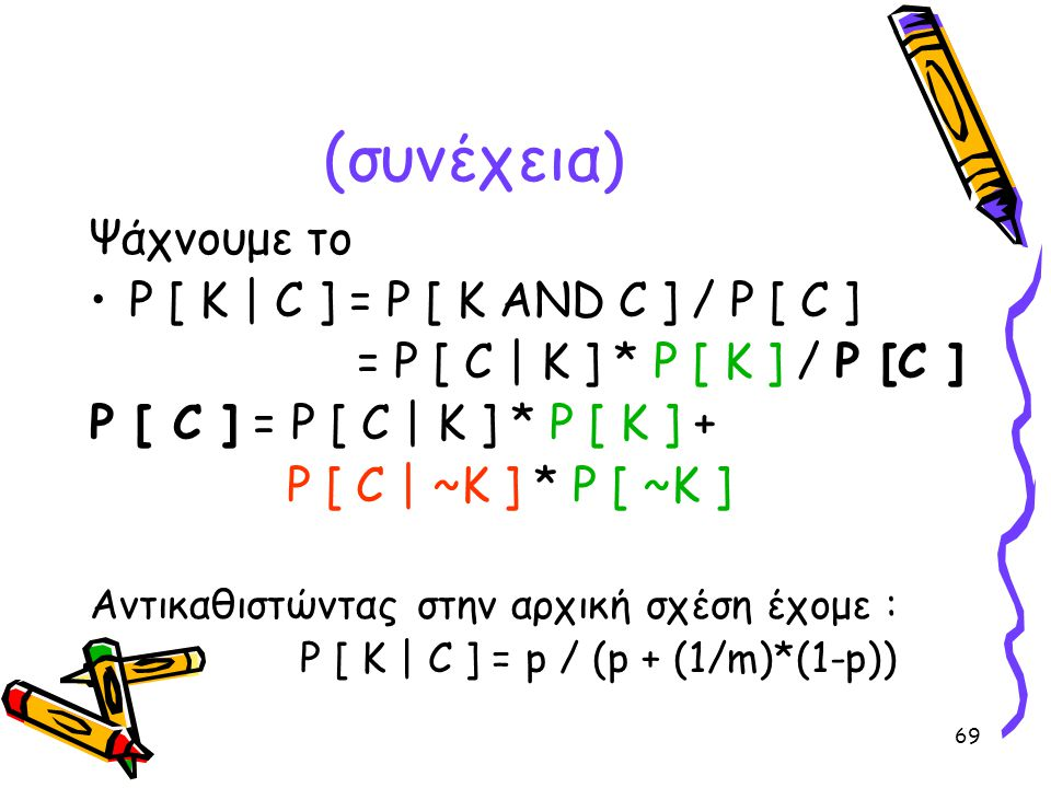(συνέχεια) Ψάχνουμε το P [ K | C ] = P [ K AND C ] / P [ C ]